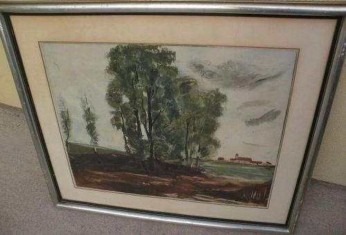 """After MAURICE de VLAMINCK (1876-1958) aquatint print """"Le Village d'Herouville"""" by Jacques Villon"""