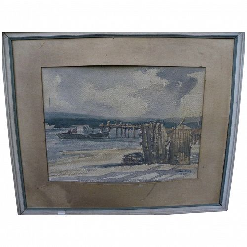 American signed watercolor 1950 painting of New England lobster dock