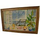 Contemporary European painting of sunny breezy seaside interior signed SARDI