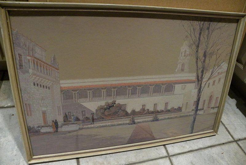 Signed San Diego California original vintage gouache painting of Balboa Park architecture