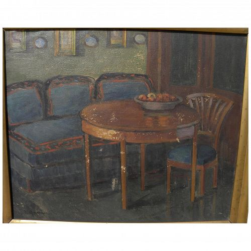 German art signed 1909 Berlin interior scene possibly by listed artist