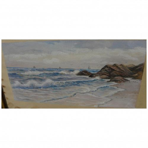 American 19th century coastal watercolor painting signed SHARP