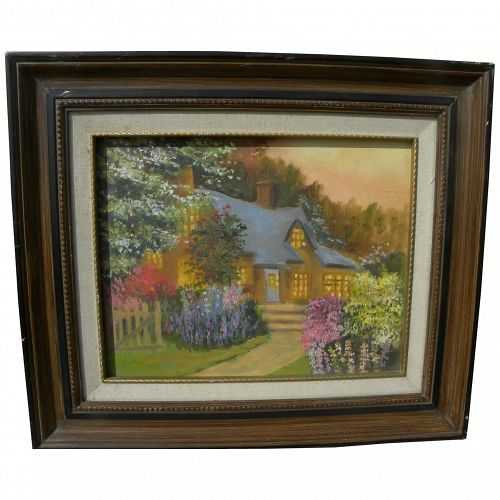 Impressionist cottage garden painting in style of Thomas Kinkade and Marty Bell