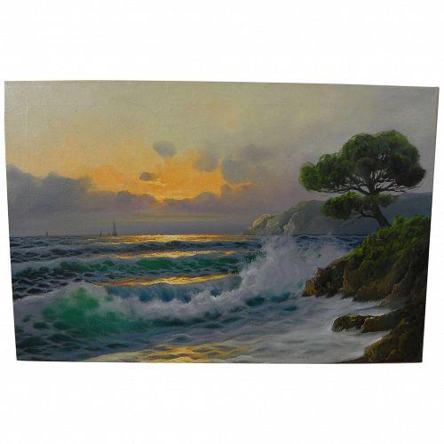 Impressionist coastal sunset by Italian artist Casati