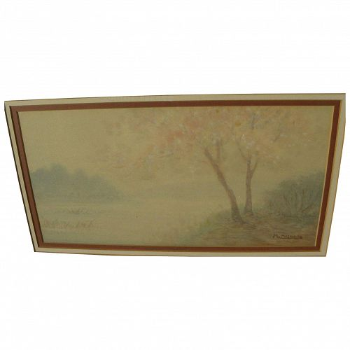 Japanese impressionist watercolor landscape painting signed M. MASAHIRO