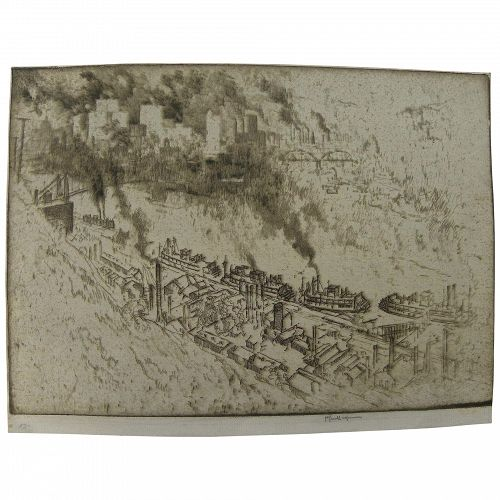 """JOSEPH PENNELL (1860-1926) fine etching """"Pittsburgh, no. II"""""""