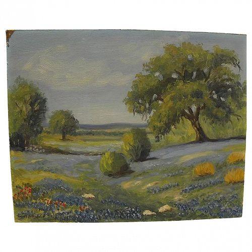 Texas art bluebonnet painting signed Nancy McDonald