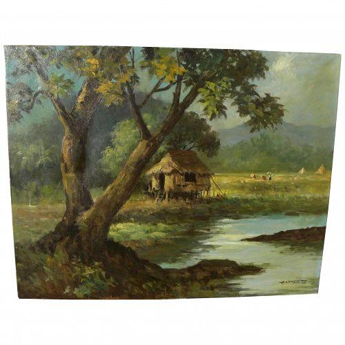 Filipino vintage art impressionist country landscape painting signed T. I. SANCHEZ Manila 1963