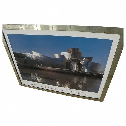 Architect FRANK GEHRY (1929-) poster of Guggenheim Museum in Bilbao hand signed and dedicated