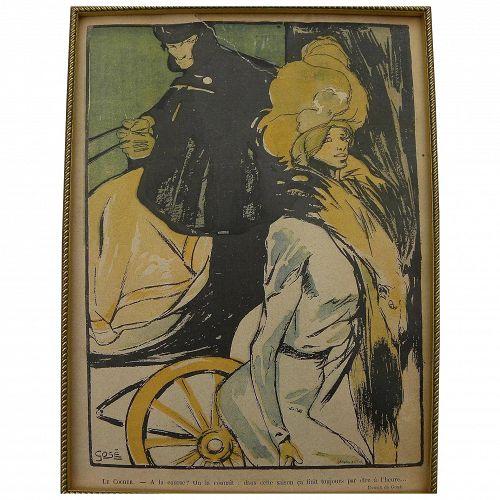 FRANCISCO XAVIER GOSE (1876-1915) original lithograph of cabman and elegant lady 1901