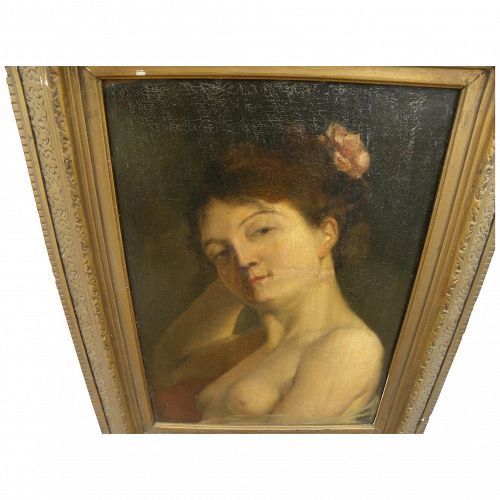 French signed 19th century painting of attractive young nude