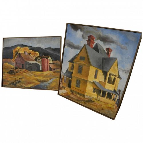 PAIR circa 1950 landscapes in American Scene style signed McKee