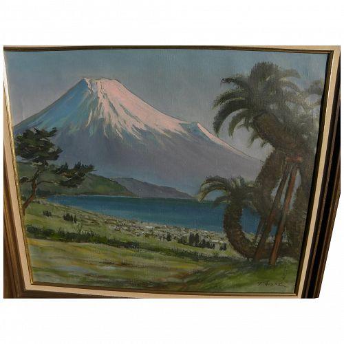 Japanese art painting of Mount Fuji signed T. Arashi