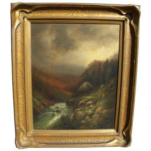 Yosemite California vintage landscape painting possibly by Hermann Herzog (1832-1932)