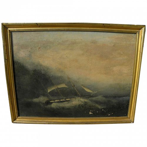 American circa 1870's marine painting of clipper ship in storm, as-is condition