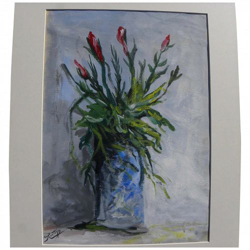 Impressionist gouache floral still life painting mid century