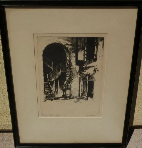 GERRY PEIRCE (1900-1969) pencil signed etching of New Orleans French Quarter courtyard by noted Arizona artist