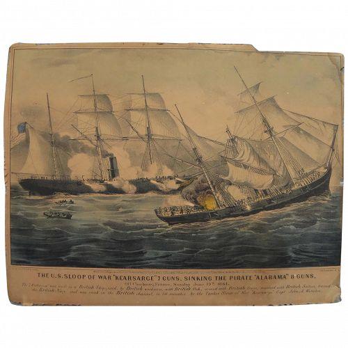 "CURRIER & IVES original 19th century lithograph print ""The U.S. Sloop of War Kearsarge 7 Guns..."""""