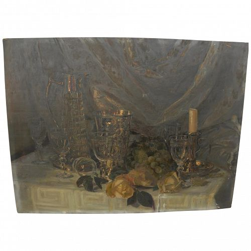 Late 19th century signed European still life painting on wood panel