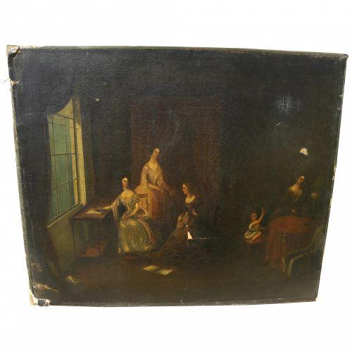 Circa 1835 English or Northern European painting elegant ladies in an interior