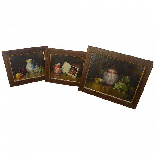 THREE realistic oil still life paintings signed G. Gillson