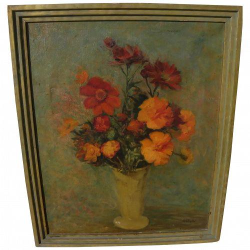 "GEORGIA P. FOSTER (1881-1965) vintage American still life painting ""Marigolds"""