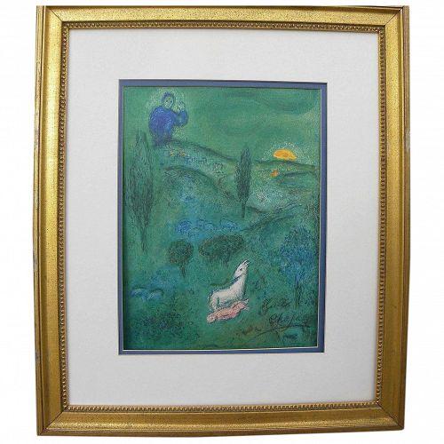"MARC CHAGALL (1887-1985) **hand pencil signed** original print ""Lamon Discovers Daphnis"" 1961"