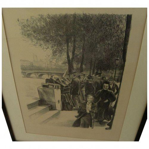 Circa 1890's unsigned lithograph print Paris bookstalls along the Seine