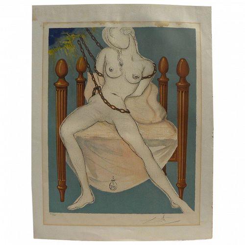 "SALVADOR DALI (1904-1989) signed original lithograph ""Cecile's Chastity"" from Marquis de Sade series 1969"