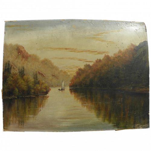 Hudson River style primitive oil on board landscape painting