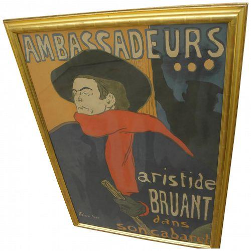 "HENRI DE TOULOUSE-LAUTREC (1864-1901) large poster ""Ambassadeurs/Aristide Bruant"""