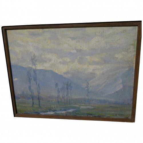 Impressionist Mediterranean or California landscape signed HUPPI