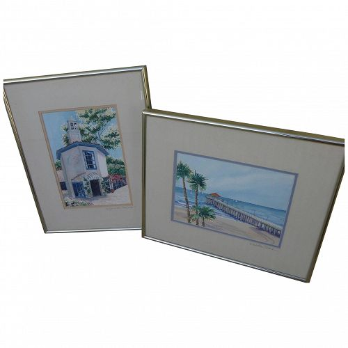 PAIR California signed watercolor paintings of familiar Manhattan Beach and Palos Verdes scenes