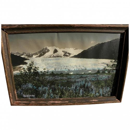 Alaskana 1933 colorized photo of Mendenhall Glacier near Juneau