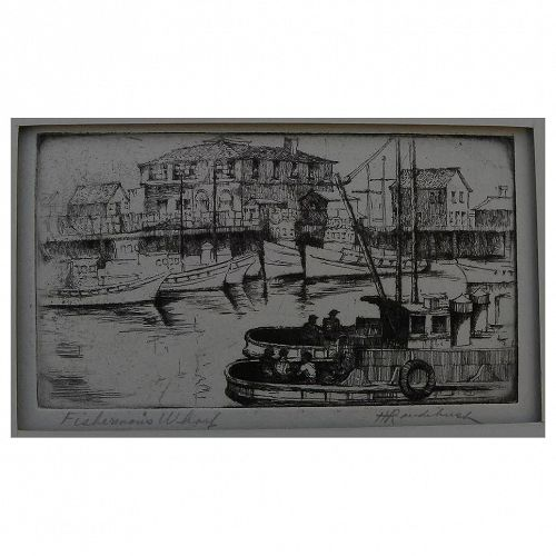 """HARRIET GENE ROUDEBUSH (1908-1998) pencil signed etching """"Fisherman's Wharf"""" by listed San Francisco artist"""