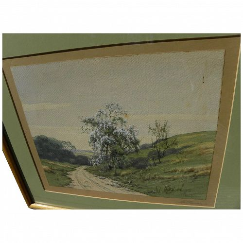 CHARLES GRANT DAVIDSON (1865-1945) vintage American art watercolor landscape painting