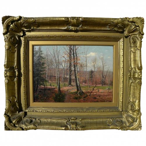 DUBOIS FENELON HASBROUCK (1860-1934) Impressionist November landscape painting by well known American artist
