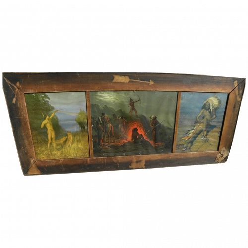 Rustic cabin art three panel 1905 Taber Prang framed images of Native American Indians