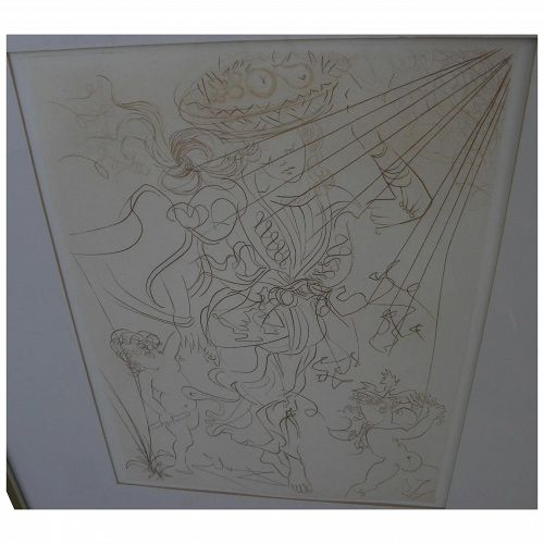 """SALVADOR DALI (1904-1989) original etching """"Autumn"""" of 1970 by the Surrealist master artist"""