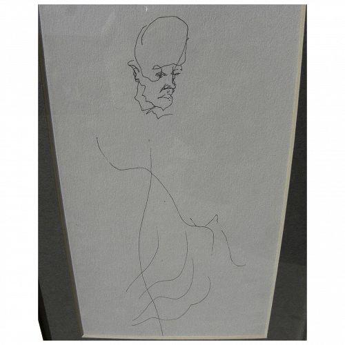 Modern line drawing of a man circa 1970