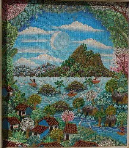 Colorful Nicaraguan primitive style painting of Laguna Masaya landscape