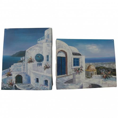 Greek islands PAIR of contemporary small paintings of whitewashed buildings/blue sea