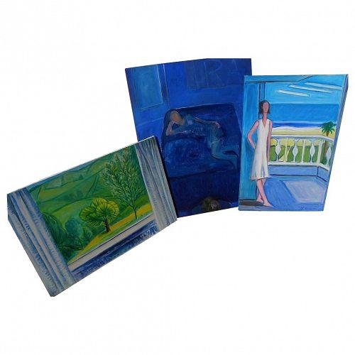 THREE contemporary paintings by California-Japanese artist Yuri Mason (1920-2000)