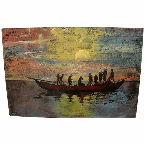 Vietnamese lacquer painting of men in a sampan boat at sunset