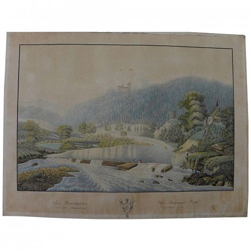 Antique 1840's detailed German extensive landscape with figures watercolor painting