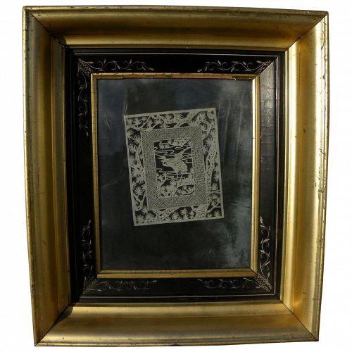 "Japanese kirigami art (cut paper) ""kirie"" in Victorian Eastlake frame"