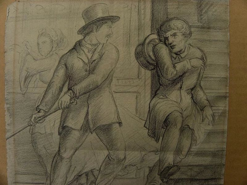 Mid 19th century English or European pencil drawing of two combative men