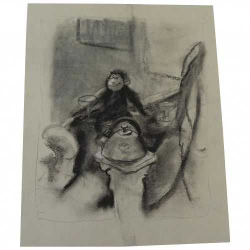 Charcoal illustration drawing of a chimpanzee living the high life