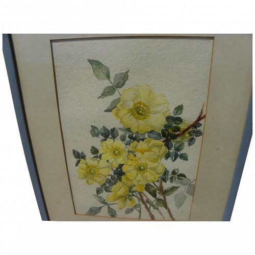 Watercolor still life painting of yellow roses