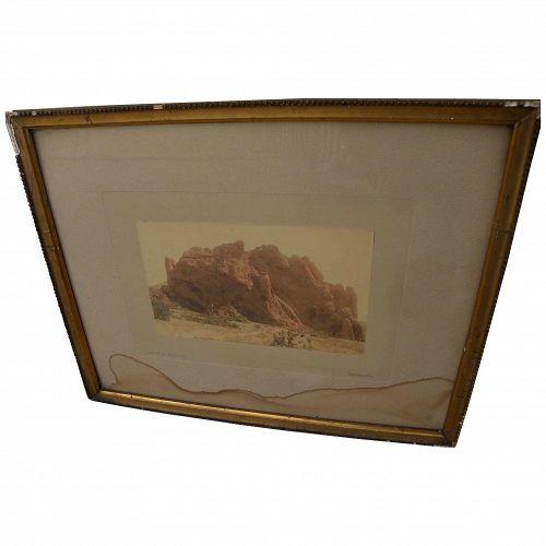 WILLIAM HENRY JACKSON (1843-1942) original photochrom photograph of Garden of the Gods Colorado